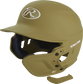 A matte Vegas gold MEXT attached to a Mach batting helmet showing the hardware image number null
