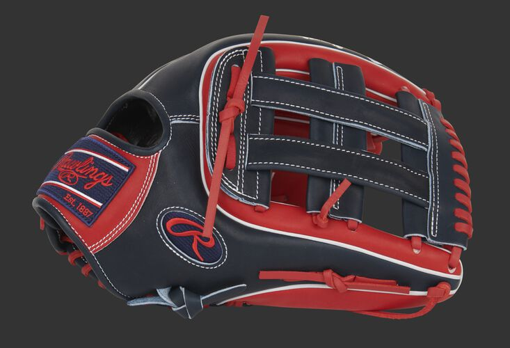 Thumb of a scarlet/navy exclusive Pro Preferred outfield glove with a navy H-web - SKU: PROS3319-6SN