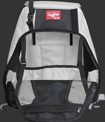 An open R500 Rawlings Players equipment backpack with white interior