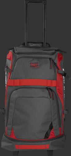 Front of a grey R1801 Rawlings wheeled catcher's backpack with scarlet trim