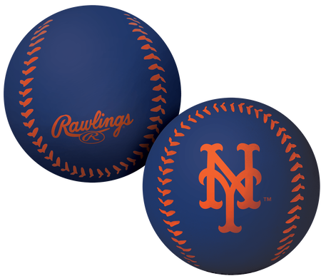 A blue New York Mets Big Fly rubber bounce ball