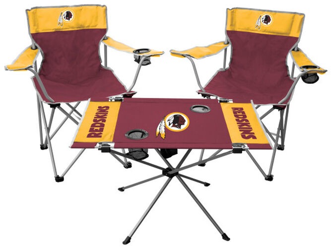 Front of Rawlings Maroon and Yellow NFL Washington Redskins 3-Piece Tailgate Kit With Two Kickoff Chairs, An Endzone Table, And A Transport Bag With Team Logo SKU #01041087511