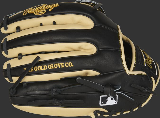 Black/camel 2021 Heart of the Hide R2G 12.75-Inch outfield glove with the MLB logo on the pinkie - SKU: PROR3319-6BC