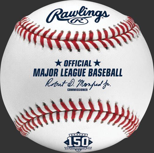 A MLB 2021 Atlanta Braves 150th Anniversary baseball with the Official MLB baseball stamp - SKU: EA-ROMLBATL150-R