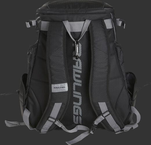 Back shoulder straps on a black R1000 Gold Glove backpack with Rawlings down the back