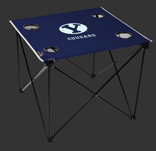 A blue NCAA BYU Cougars deluxe tailgate table with four cup holders and team logo printed in the middle SKU #00713008111