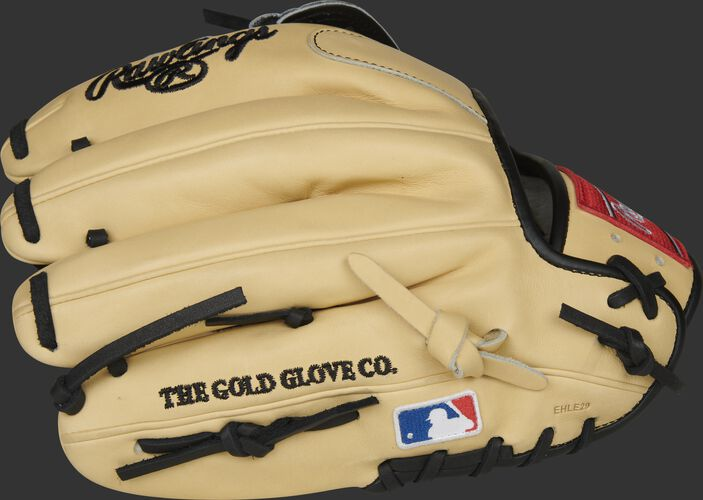 Camel fingerbacks of a Rawlings Brandon Crawford Pro Preferred glove with the MLB logo on the pinkie - SKU: PROS204-BC35