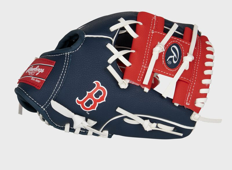 Thumb of a navy/red Boston Red Sox 10-inch team logo glove with a red I-web and Boston logo on the thumb - SKU: 22000024111