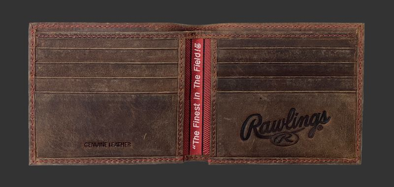 Inside of a brown bi-fold high grade debossed wallet with multiple credit card slots - SKU: RPW004-200