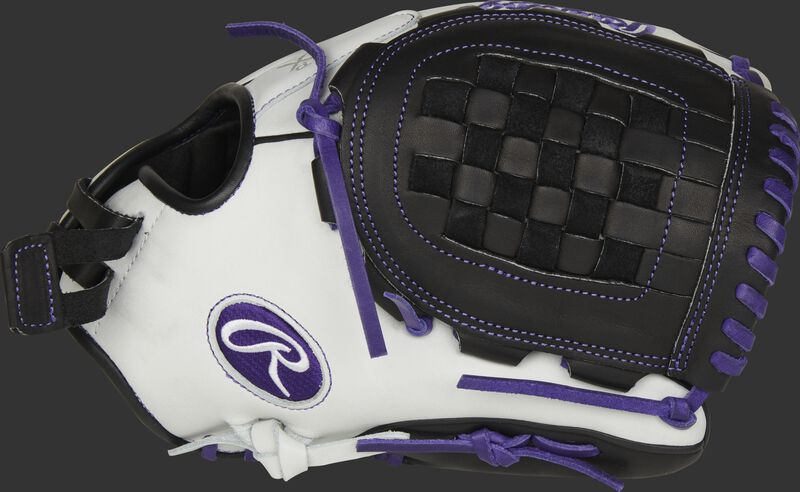 Thumb of a white RLA120-3PU Liberty Advanced Color Series 12-Inch infield/pitcher's glove with a black Basket web