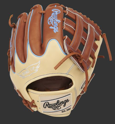 Camel Wing Tip back of a Pro Preferred 11.75-Inch H-web glove with bruciato finger backs and camel patch - SKU: PROS205W-6BRC