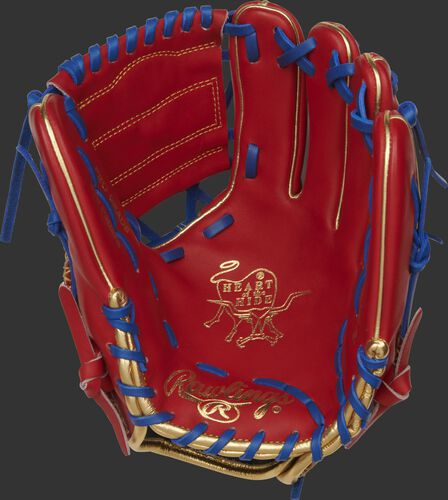 PRO204W-2SRG Rawlings HOH glove with a scarlet palm, scarlet web and royal laces