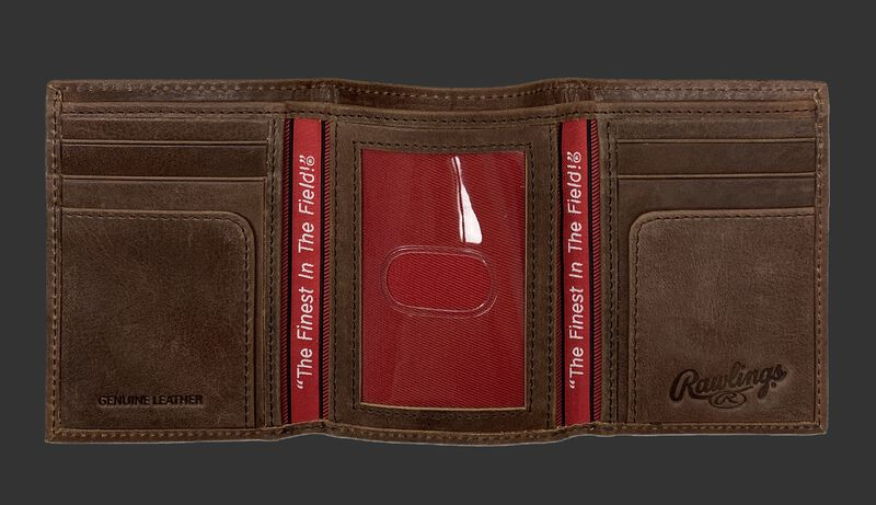 Inside of a brown Rawlings American Story tri-fold wallet with multiple card slots and clear ID window - SKU: RPW002-200