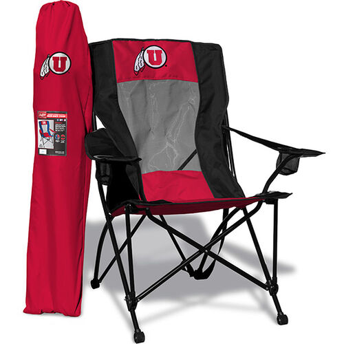 Front of Rawlings Red and Black NCAA Utah Utes High Back Chair With Team Logo SKU #09403105518