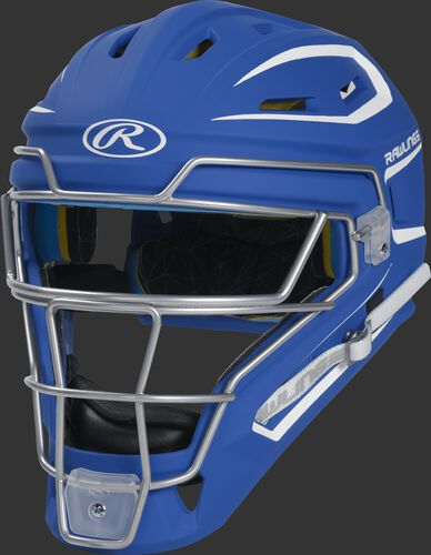 CHMCHS royal Mach adult catcher's helmet with white trim