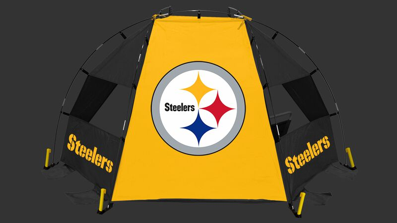 Back of a Pittsburgh Steelers sideline sun shelter with the Steelers logo in the middle - SKU: 00961082111
