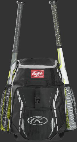A black R400 youth players team backpack with a bat in each of the side compartments