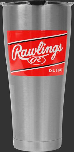 Front of Rawlings Stainless Steel 30oz Tervis Tumbler With Rawlings Brand Red Patch SKU #1307069