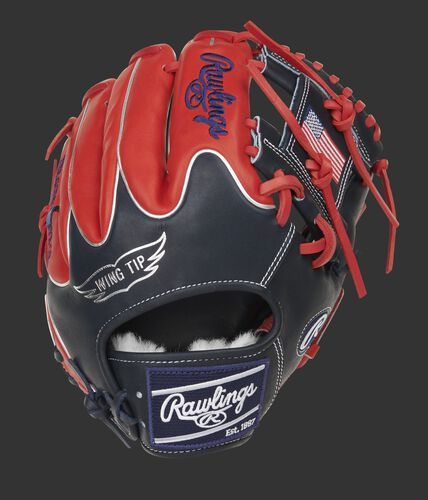 Navy Wing Tip back of a Pro Preferred I-web infield glove with scarlet finger backs and navy Rawlings patch - SKU: PROS204W-2NS