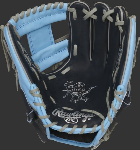 Navy palm of a Rawlings Tampa Bay Rays HOH glove with silver stamping and gray laces - SKU: RSGPRO204-2TB