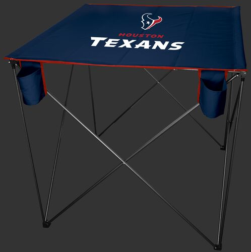 A blue NFL Houston Texans bar height tailgate table with the Texans logo in the middle - SKU: 10051093511