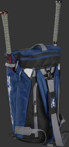 Right angle of a navy R601 Hybrid players duffel bag standing up with two bats