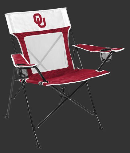 Front of Rawlings Crimson and White NCAA Oklahoma Sooners Game Changer Chair With Team Logo SKU #00643045111