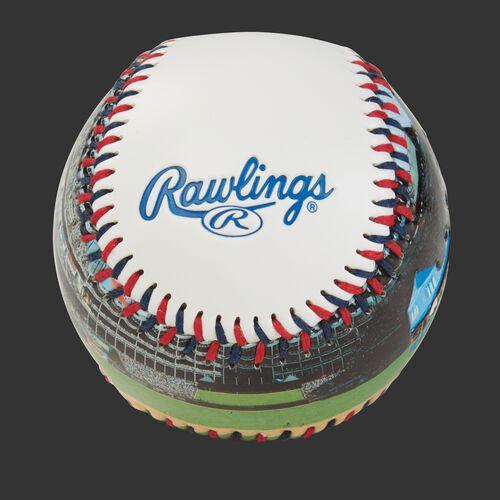 Rawlings logo on a Texas Rangers team stadium ball