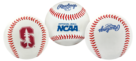 3 views of a NCAA Stanford Cardinals baseball with a team logo, NCAA logo and Rawlings logo