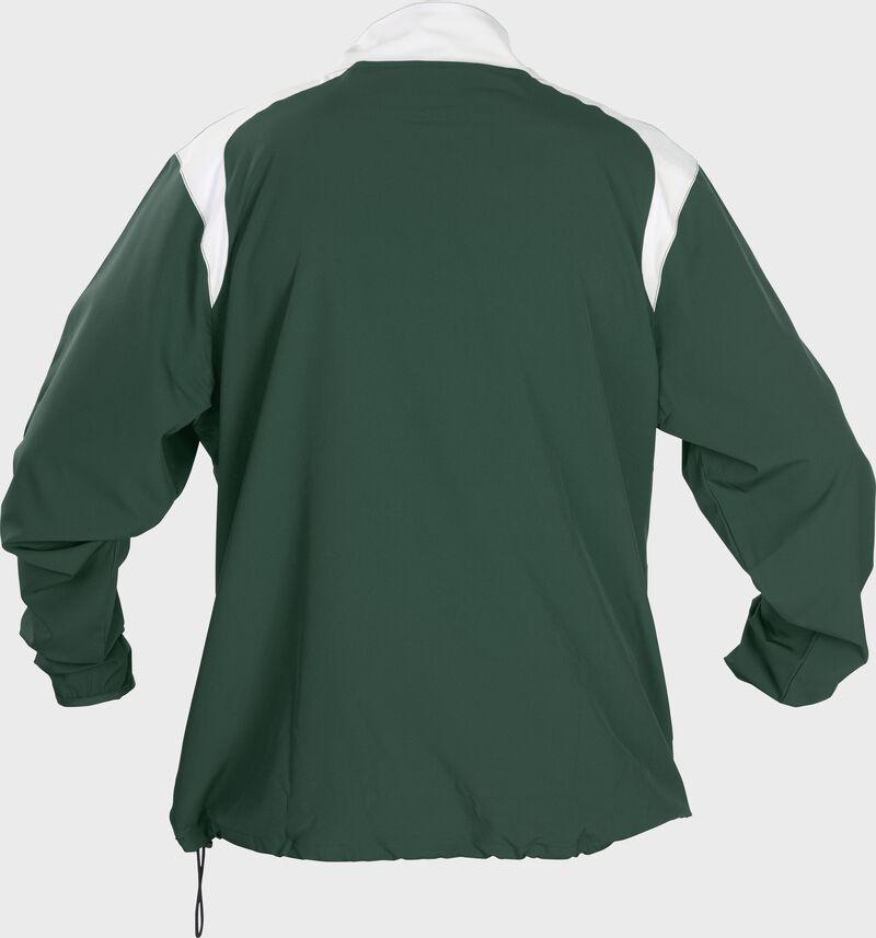 Back of Rawlings Dark Green Adult Long Sleeve Quarter-Zip Jacket - SKU #FORCEJ-B-88