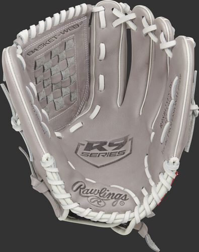 Gray palm of a Rawlings R9 softball glove with a gray web and white laces - SKU: R9SB125FS-3G
