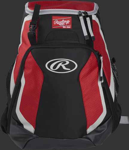 Front of a black/scarlet R500 Rawlings Players team backpack with a Rawlings patch and white Oval R