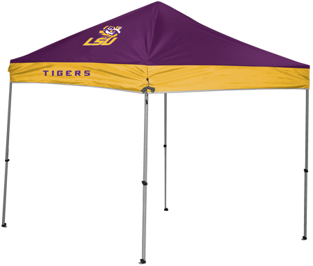 A NCAA LSU Tigers 9x9 canopy shelter in team colors with a team logo printed on top