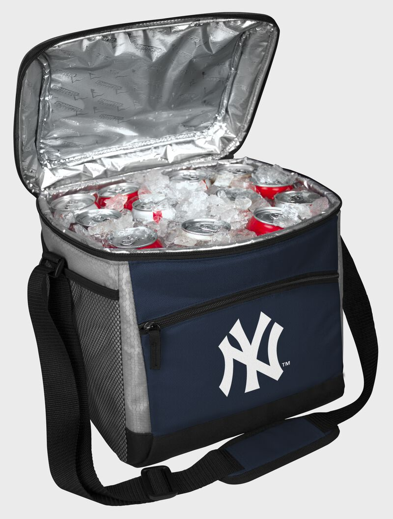 An open New York Yankees 24 can cooler filled with ice and drinks - SKU: 10200030111