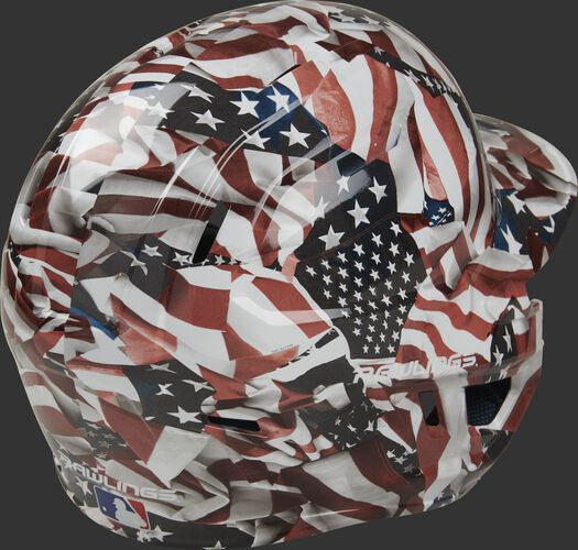 Back right of a MACHEXTR-USA Rawlings Mach EXT batters helmet with a USA themed hydro dip design