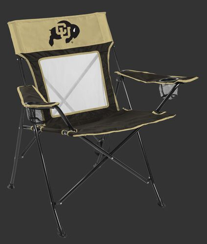 Front of Rawlings Gold and Black NCAA Colorado Buffaloes Game Changer Chair With Team Logo SKU #00643071111