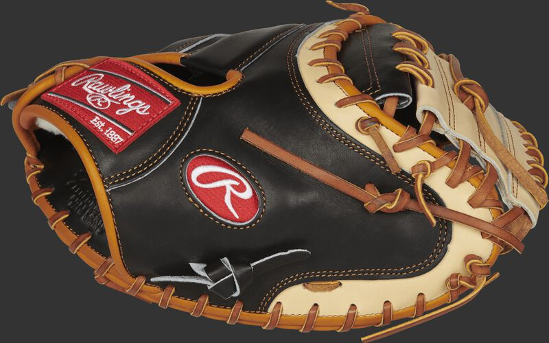 Thumb view of a PROSCM33BCT 33-inch Rawlings Pro Preferred catcher's mitt with a camel one-piece solid web