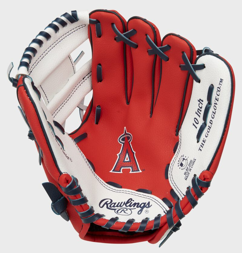A red Rawlings Los Angeles Angels glove with the Angels logo stamped in the palm - SKU: 22000001111