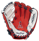 A red Rawlings Los Angeles Angels glove with the Angels logo stamped in the palm - SKU: 22000001111 image number null