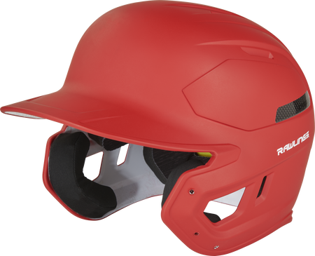 Left angle view of a matte scarlet CAR07A MACH Carbon high school/college batting helmet