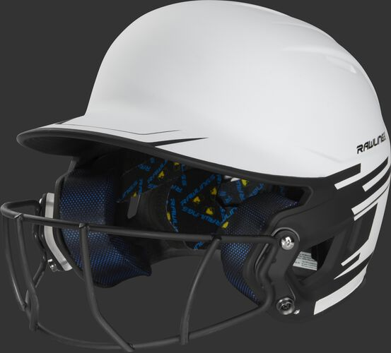 Front left of a white/black Mach softball helmet with a black mask - SKU: MSB13S-W/B