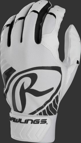 Back of a white/black adult 5150 batting glove with a large black oval-R across the back of the palm - SKU: BR51BG-B