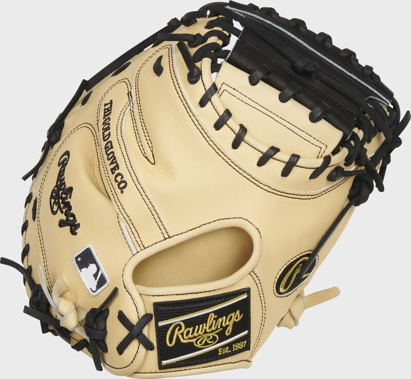 Camel Speed Shell back of a 34-Inch Heart of the Hide ColorSync 5.0 catcher's mitt with a black Rawlings patch - SKU: PROCM43CBG