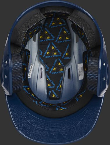 Inside of a navy MCC01 ventilated Mach batting helmet with black foam padding