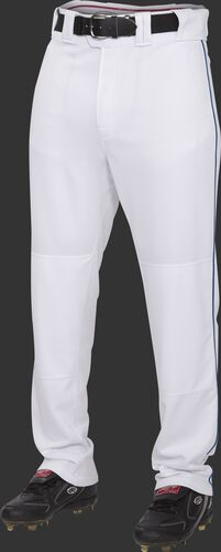 Front of Rawlings White/Navy Adult Semi-Relaxed Piped Pant - SKU #PRO150P-BG/DG-90