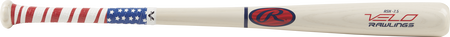 Y62AV white Velo youth ash wood bat with a stars and stripes grip