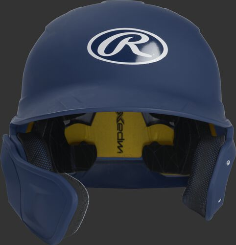 Front of a matte navy MACHEXTL high school/college Mach batting helmet with face guard extension for left hand batters