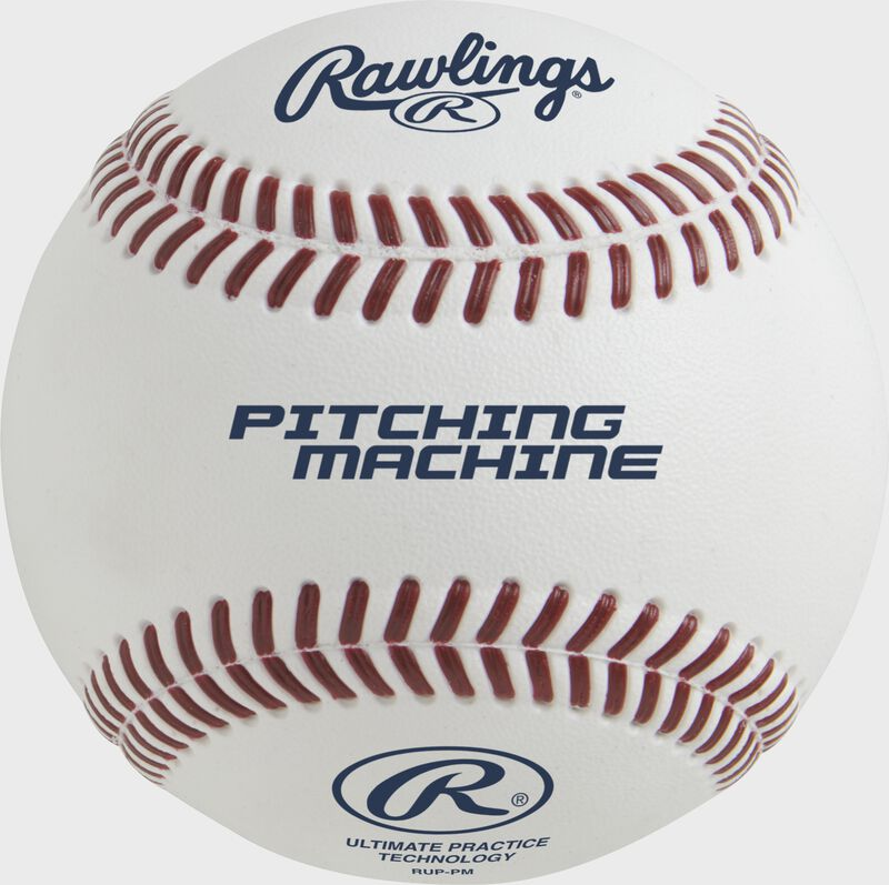 An Ultimate Practice Technology pitching machine baseball with red molded stitching - SKU: RUP-PM