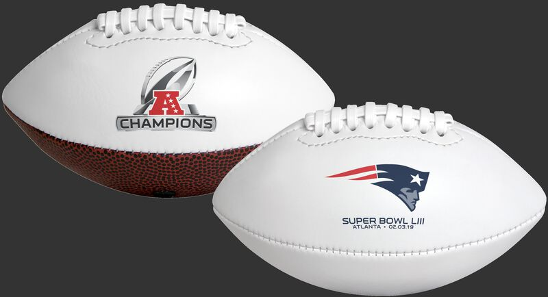 A white 2019 New England Patriots AFC Champions youth football with team logo on one side and Champions logo on the other SKU #06571100124