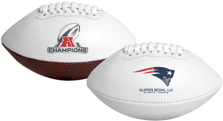 A white 2019 New England Patriots AFC Champions youth football with team logo on one side and Champions logo on the other